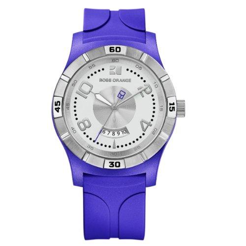 Hugo Boss Boss Orange - Reloj analógico de cuarzo para hombre con correa de silicona, color azul