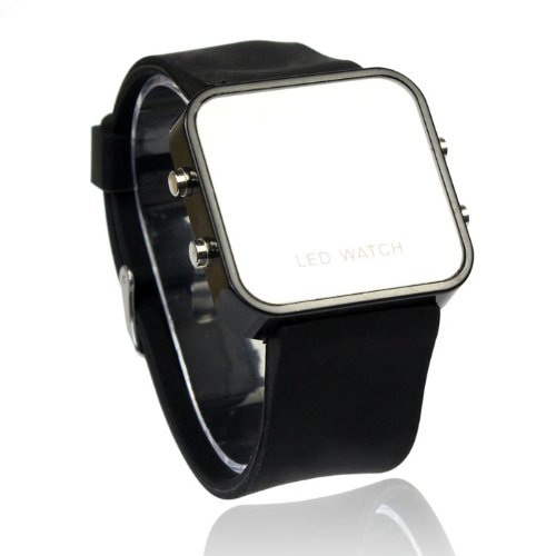 Bluesky Exquisite Appearance Digital Led Mirror Watch With Soft Rubber Material (Black)