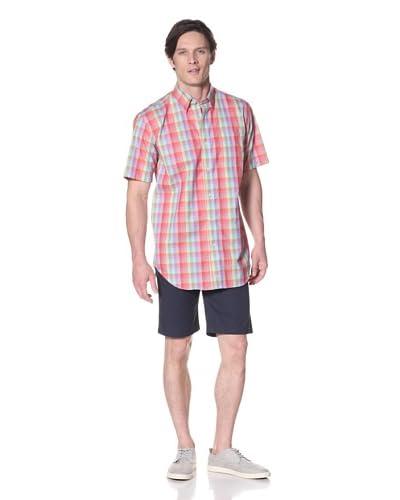 Viyella Men's Short Sleeve Shirt with Hidden Button-Down Collar  [Carmine Rose]
