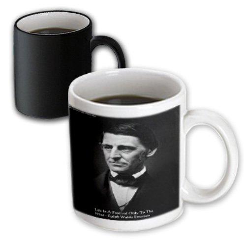 Mug_36615_3 Rick London Famous Wisdom Quote Gifts - Ralph Waldo Emerson - Ralph Waldo Emerson - Life Is A Festival Only To The Wise - Wisdom Quote Gifts - Mugs - 11Oz Magic Transforming Mug
