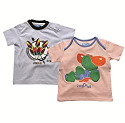 Juscubs Printed t-shirts combo- peach cool turtle & white feathers artworks
