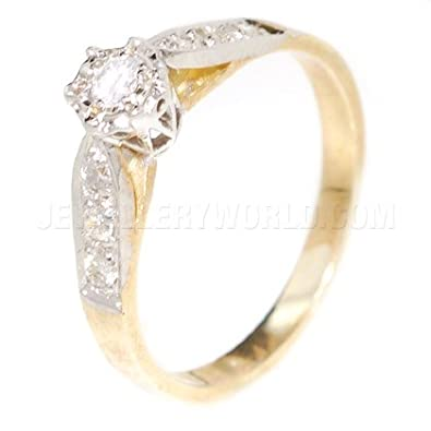 0.20ct Diamond 9ct Gold Engagement Ring with Tapered Shoulders