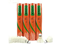 12 X Training White Goose Feather Shuttlecocks Birdies Badminton Ball Game Sport