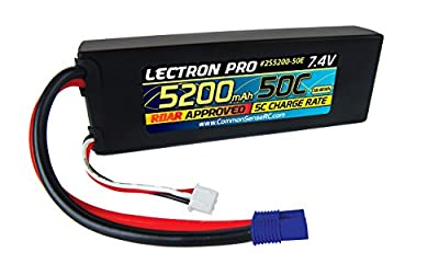 Lectron Pro 7.4 volt - 5200mAh 50C Lipo Battery Pack with EC3 Connector