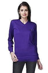 Buff Women's Cotton Blend Sweater(PRL102L_Blue_Large)