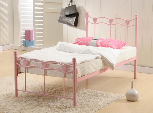 Madrid Pink Hearts Single 3FT Metal Bed Frame