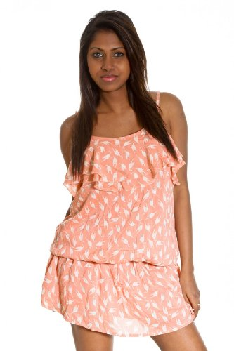 Short cat print Punkyfish waisted dress peach