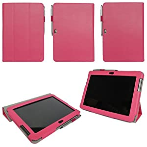 ProCase Samsung Galaxy Tab 2 10.1 Protective Case - Tri-Fold Slim Leather Folio Cover for Samsung Galaxy Tab 2 10.1 Inch Tablet with Stand, GT-P5110 P5100 (Pink)