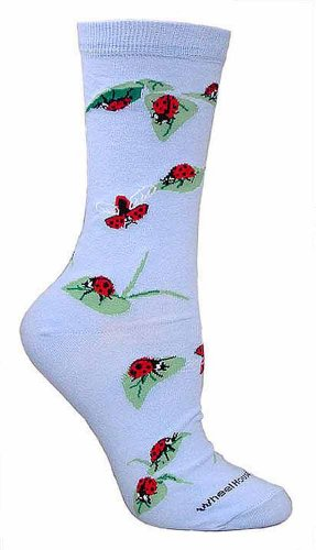 Ladybugs Light Blue Ultra Lightweight Cotton Crew Socks (One Size Fits Most) Made in USA (Fashion Bug Plus Size)