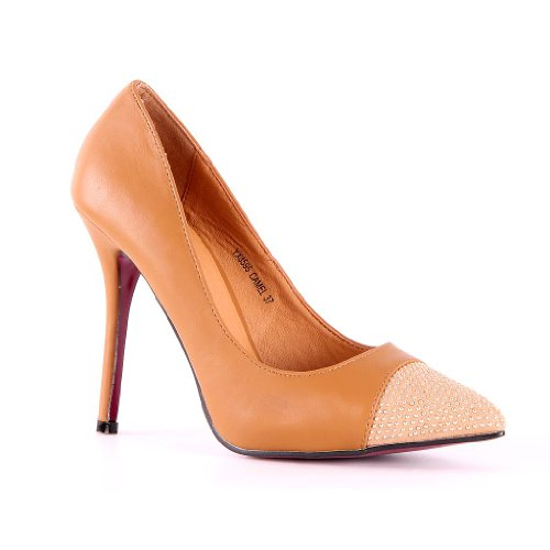 High Heels décolleté Elegante a punta da donna borchie Materiale Mix Pfennig paragrafo, beige (marrone chiaro), 37 EU