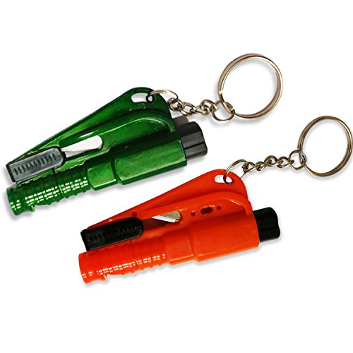 3 in 1 Survival Tool Emergency Car Window Breaker Hammer, Seat Belt Cutter and Emergency Whistle with Key Chain (2) (Seatbelt Cutter Key compare prices)