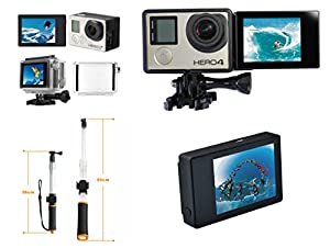 "LCD Bacpac Touch Display with LCD Adapter Mount + 14-24"" Floaty Selfie Stick by Snapsity"