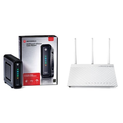 ARRIS / Motorola SB6121 SURFboard DOCSIS 3.0 Cable Modem and ASUS RT-N66W Dual-Band Wireless-N900 Gigabit Router image
