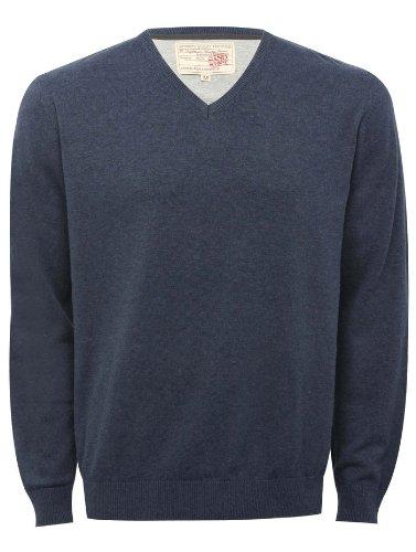Mens plain v neck long sleeve cotton jumper Denim XL