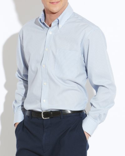 Savile Row Men's Pale Blue White Stripe Buttondown Collar Casual Shirt Size Small