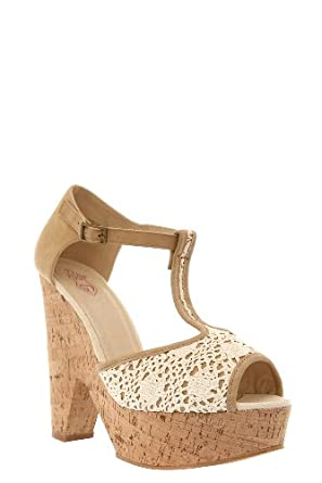Summer Crochet Cork Wedge Heels (Wide Width)