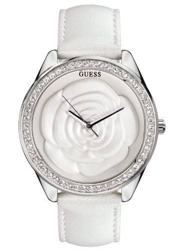 Guess Ladies White Rose Big Dial Leather Strap Watch W85075L1
