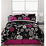 Pink Black White Girls Flowered Twin Comforter Sheet Bed In A Bag Set