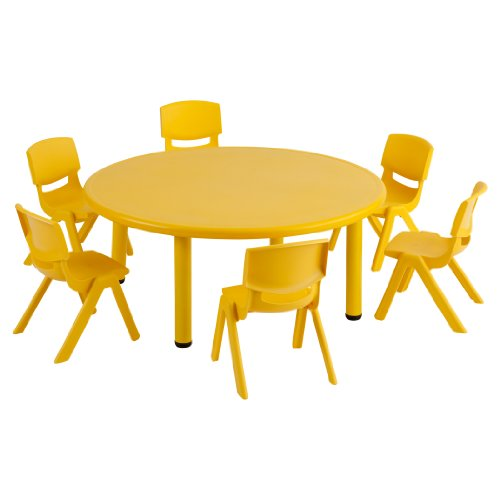"""Ecr4Kids Round 45"""" Resin Table With 6 12"""" Resin Chairs, Yellow front-865014"""