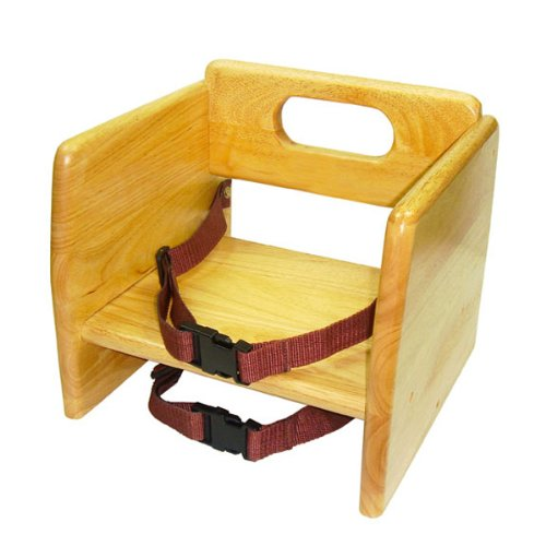 ChefLand Natural Finish Wood Stackable Booster Seat w/Seat Belts - 1