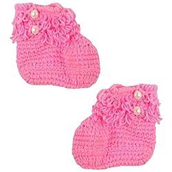 Dchica Baby Girl's Booties (DC299, Pink)