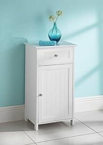 maine white narrow bathroom storage cabinet with 1 drawer