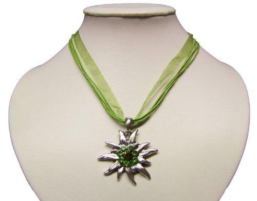 Trachtenkette mit Edelweiss Anhänger in Vielen Farben. Halskette für Dirndl und Lederhose (Grün) thumbnail