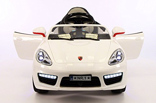 Porsche Boxster Style 12V, 2 Motors Kids Ride-On Car MP3+USB Player, Battery Powered Wheels RC Parental Remote + 5 Point Safety Harness | White