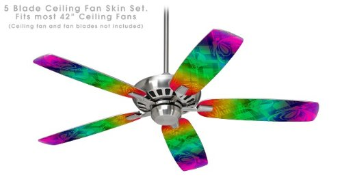 Rainbow Butterflies - Ceiling Fan Vinyl Decal Skin Kit fits most 42 inch fans (FAN and BLADES SOLD SEPARATELY)