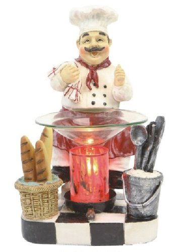 Poly Resin CHEF Figurine Electric Oil Warmer or Tart Burner with Free Pack Tart Melts and Free Replacement Bulb (Chef Tart Warmer compare prices)