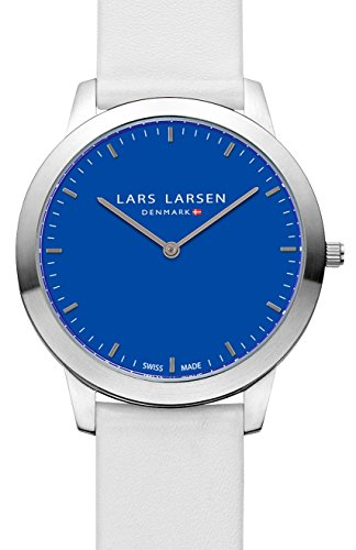 Lars Larsen Rene Unisex Quartz Watch with Blue Dial Analogue Display and White Leather Strap 135SBLWL