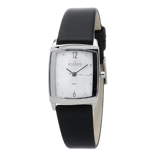 Skagen Designs Ladies Quartz Watch with Silver Dial Analogue Display and Black Leather Strap 691SSLS