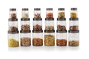 Cello Checkers Plastic PET Canister Set, 18-Pieces, Clear