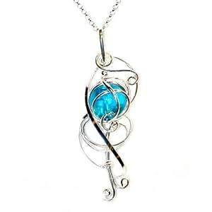 PIK - 120500207 - Passion du fil - Grand pendentif pour femme - Strass bleu clair aigue marine