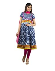Rama Set Of Blue-Orange Color Anarkali With Pink Color Legging & Duppatta