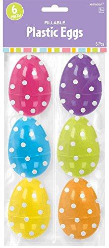 Amscam Easter Plastic Polka Dot Egg, Large, Multicolor