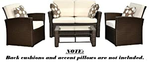 Del Mar Collection - 4pc Outdoor Wicker Patio Furniture