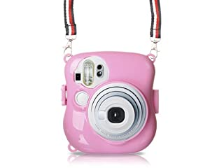 Candy PC Hard Case with Free Shoulder Case for Fujifilm Instax mini 25 Case - Pink