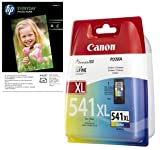 Genuine Canon CL541XL (High Capacity) Colour Printer Ink Cartridge for Canon Pixma MG2150 MG3150 MG4150 MX375 MX435 MX515 & 10x FREE HP Advanced Glossy Photo Paper