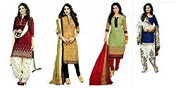 Shiroya Brothers Women's Printed Unstitched Regular Wear Salwar Suit Dress Material (Combo pack of 4)(SB_Combo_362)(SB_501_Maroon)(SB_508_Beige)(SB_513_MultiColour)(SB_518_Blue)