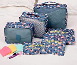 ONOR-Tech 6PC/ Set Multi-Functional Portable Travel Luggage Suitcase Clothes Underwear Packing Cubes Organizer Storage Bag Pouch (Floral Pattern(Dark Blue))