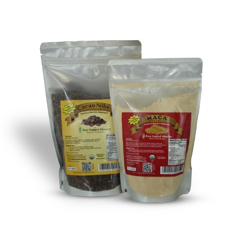 SUPER SPECIAL COMBO - Maca Powder and Cacao Nibs - Peruvian Raw Organic Vegan - Premium Maca Root Powder - Criollo Cocoa Nibs from Beans 16 oz/1 lb - Maca Benefits: Energy, Sexual Stamina, Libido, Fertility, Hormonal Balance - Cacao: Highest Antioxidant Superfood. Heart Health.