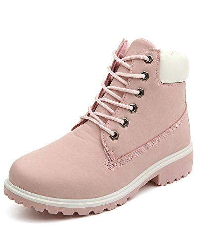 Minetom Donna Autunno Inverno Punta Rotonda Lace Up Neve Stivali Snow Boots Antiscivolo Stivali Cavaliere Martin Stivali Pink EU 36