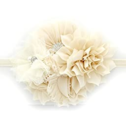 My Lello Infant Baby Headband Shabby Fabric Flower Cluster (Ivory)