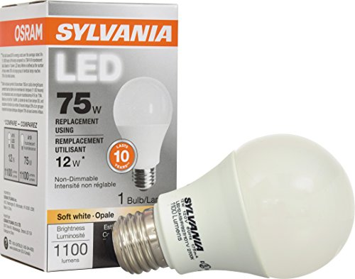 SYLVANIA, 75W Equivalent, LED Light Bulb, A19 Lamp, 1 Pack, Soft White, Energy Saving & Long Life, Medium Base, Efficient 12W, 2700K (75 Watt Lightbulbs compare prices)