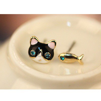 Pair of Cute Golden Earrings / Ear Studs In Cat Head And Fish Shapes With Blue Rhinestones Crystals Gemstones Eyes By VAGA®