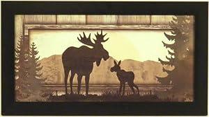 Moose by Jennifer Pugh 10x18 Cabin Lodge Wildlife Framed Art Print Wall Décor Picture