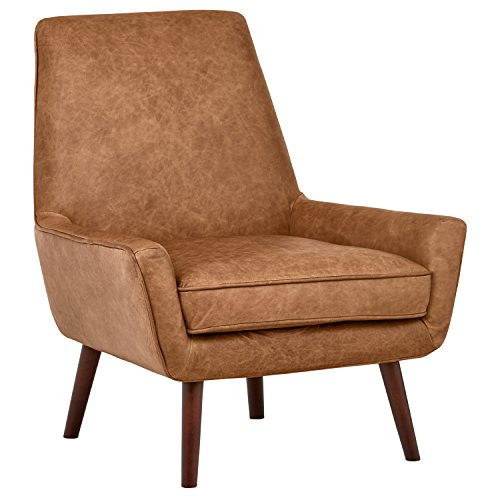 "Rivet Jamie Mid-Century Leather Low Arm Accent Chair, 31""W, Cognac"