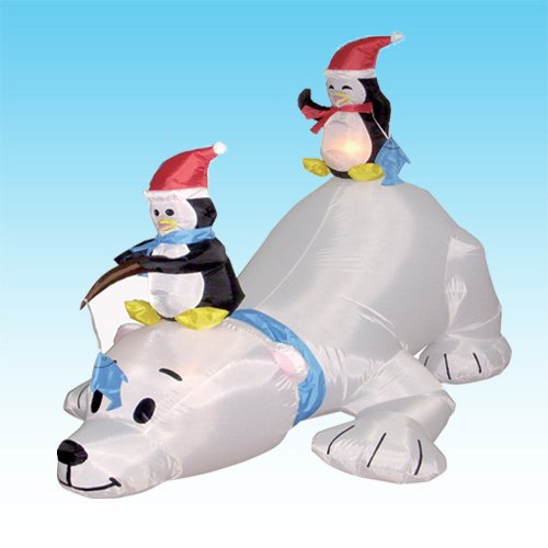8 Airblown Inflatable Santa Penguin Coffee Shop Igloo: Inflatable Christmas Decorations For The Yard