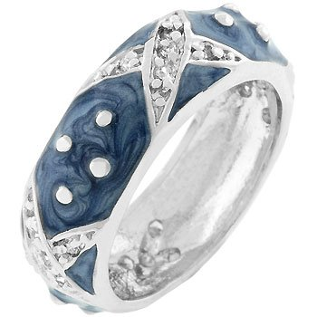 Blue Enamel with Silver Tone Polk-A-Dots and X Costume Ring (Size 5,6,7,8,9,10)